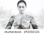 peaceful woman in white sitting ... | Shutterstock . vector #292332131