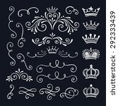 set of vintage ornate and... | Shutterstock .eps vector #292333439