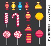 candys pixel icons set. old... | Shutterstock .eps vector #292334624