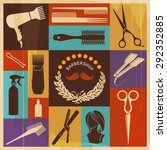 barbershop icon set retro...   Shutterstock .eps vector #292352885