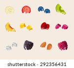 fruits dipped in milk with... | Shutterstock .eps vector #292356431
