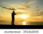 silhouette life and activity on ... | Shutterstock . vector #292363055