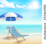 beach with sun beach umbrella... | Shutterstock . vector #292363985