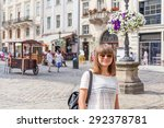 happy girl in sunglasses on the ... | Shutterstock . vector #292378781