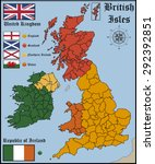 map and flags of british isles | Shutterstock .eps vector #292392851
