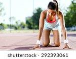 beautiful female sprinter... | Shutterstock . vector #292393061