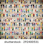 multiethnic casual people... | Shutterstock . vector #292400531