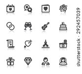 set of black flat icons with... | Shutterstock .eps vector #292457039
