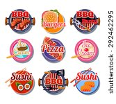 set of stickers of food vector... | Shutterstock .eps vector #292462295