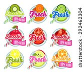 set sticers smoothie with... | Shutterstock .eps vector #292462304
