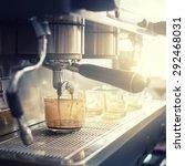 espresso machine brewing a... | Shutterstock . vector #292468031