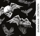 trex dinosaur halloween... | Shutterstock .eps vector #292470374