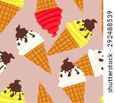 vector seamless ice cream... | Shutterstock .eps vector #292488539