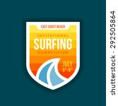 surf badge shield with wave... | Shutterstock .eps vector #292505864
