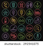 Set of Quality Universal Standard Minimal Simple Colored Neon Beach Thin Line Icons on Circular Buttons on Black Background.