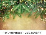 christmas fir tree border over... | Shutterstock . vector #292564844