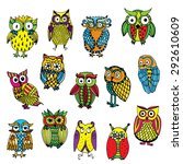 set of various owls on simple...   Shutterstock .eps vector #292610609