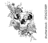 black and white skull isolated. ... | Shutterstock .eps vector #292622489