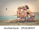 three girls doing a selfie at... | Shutterstock . vector #292628447