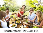 friends outdoors party... | Shutterstock . vector #292631111