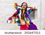 bright summer trendy portrait... | Shutterstock . vector #292647311