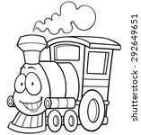Vector illustration of cartoon train - Coloring book - stock vector