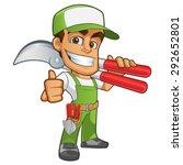 sympathetic gardener wearing... | Shutterstock .eps vector #292652801