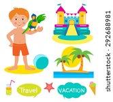 boy  parrot  bouncy castle and... | Shutterstock .eps vector #292688981