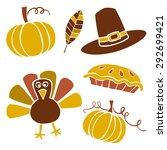 set of thanksgiving vector... | Shutterstock .eps vector #292699421