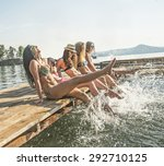 group of happy young woman feet ... | Shutterstock . vector #292710125