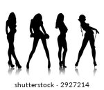 beautiful girls silhouettes ... | Shutterstock . vector #2927214
