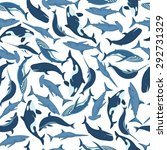 whales and fish seamless... | Shutterstock .eps vector #292731329