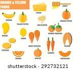 orange and yellow foods...   Shutterstock .eps vector #292732121