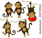 Cute Little Monkey Hanging Fro...