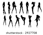 black sexy girls icons vector | Shutterstock . vector #2927708