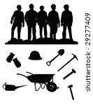 silhouette of five miners and... | Shutterstock .eps vector #29277409