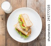 sandwichs fried egg with cheese ... | Shutterstock . vector #292777235