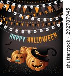 happy halloween party pumpkins... | Shutterstock .eps vector #292787945