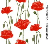 seamless pattern with poppies.... | Shutterstock .eps vector #292808267
