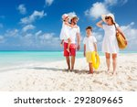 happy beautiful family with... | Shutterstock . vector #292809665