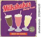 milkshakes retro poster in... | Shutterstock .eps vector #292844135