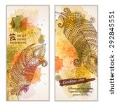 paisley batik background. set... | Shutterstock .eps vector #292845551