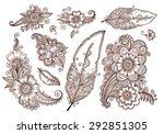 flowers and feathers mehndi... | Shutterstock .eps vector #292851305