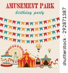 amusement park birthday party | Shutterstock .eps vector #292871387