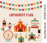 amusement park birthday party | Shutterstock .eps vector #292871411