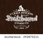 skateboard emblem with shabby... | Shutterstock .eps vector #292873211