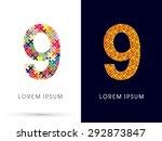 9 number  font  designed using... | Shutterstock .eps vector #292873847