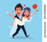 groom carrying bride holding... | Shutterstock .eps vector #292908485