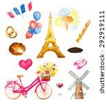 Watercolor Paris Icons Vector...