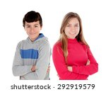 couple of teenagers  girl and... | Shutterstock . vector #292919579